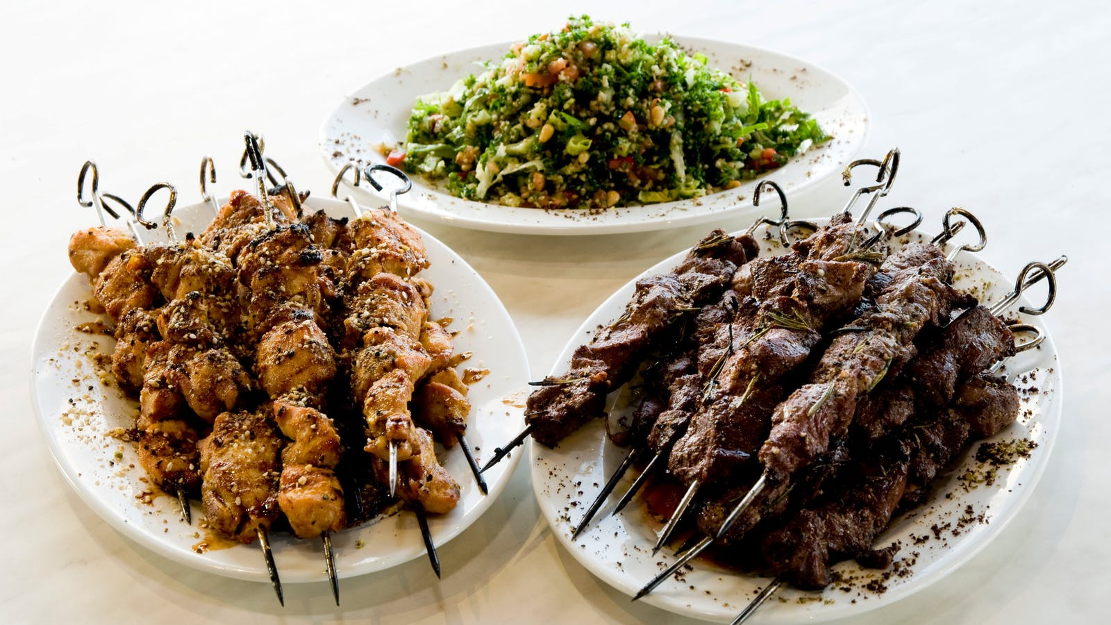 Chicken and Lamb Skewers with Tabouleh