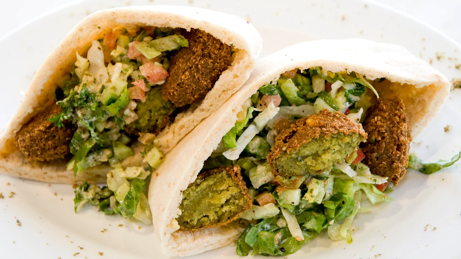 Pocket Pita filled with traditional falafels and salad