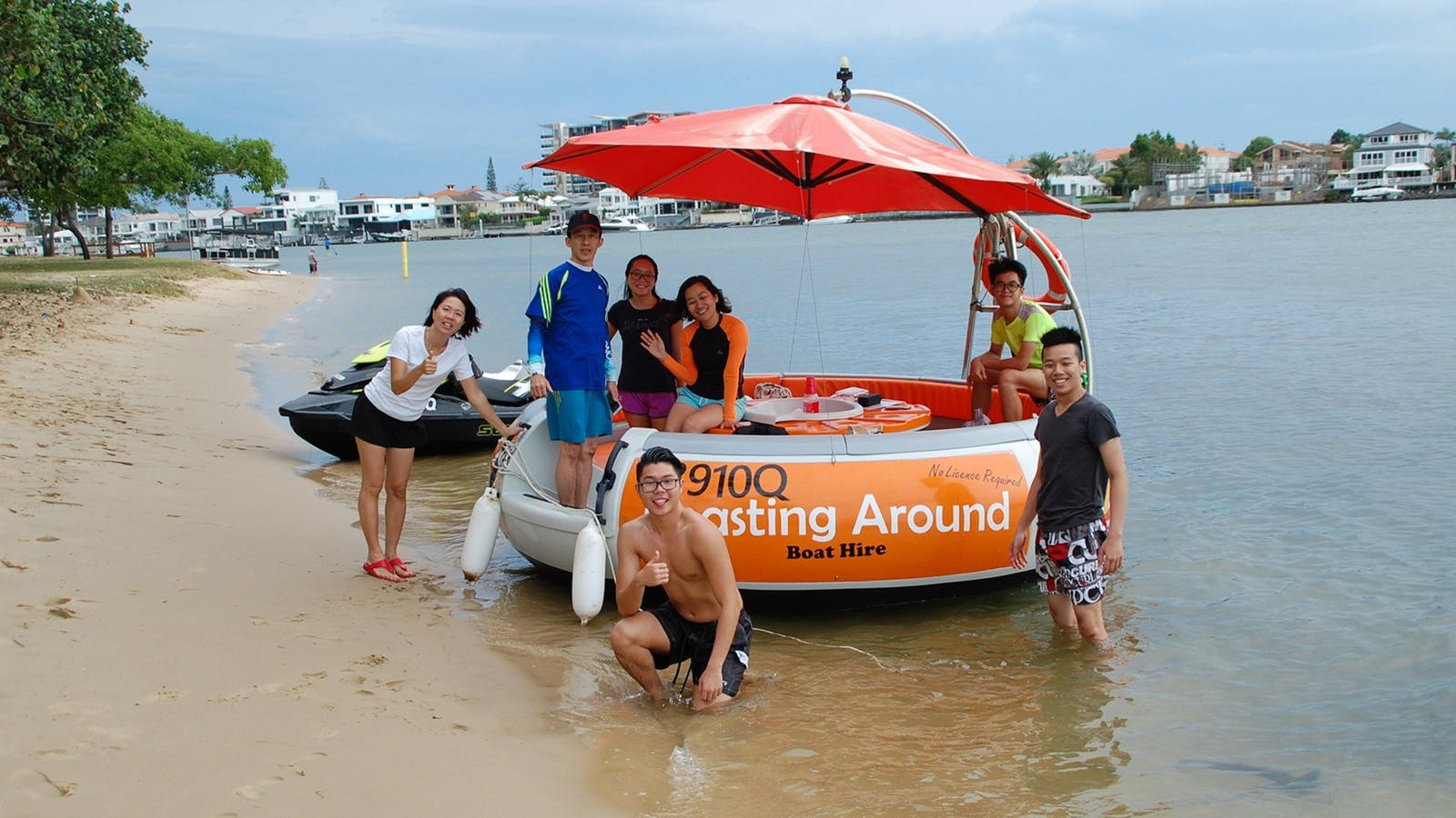 on the beach with Coasting Around Boat Hire