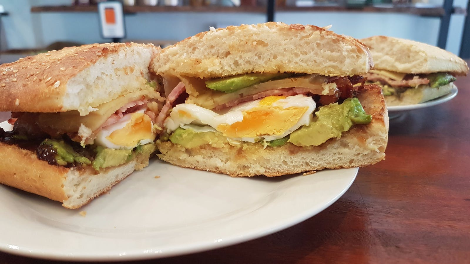Best Bacon and Egg Roll with Cheese and Avocado Crema Lovers Tamborine Mountain QLD