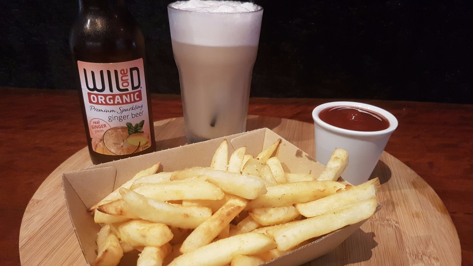 Hot Chips with Organic Ginger Beer Float Crema Lovers Tamborine Mountain QLD