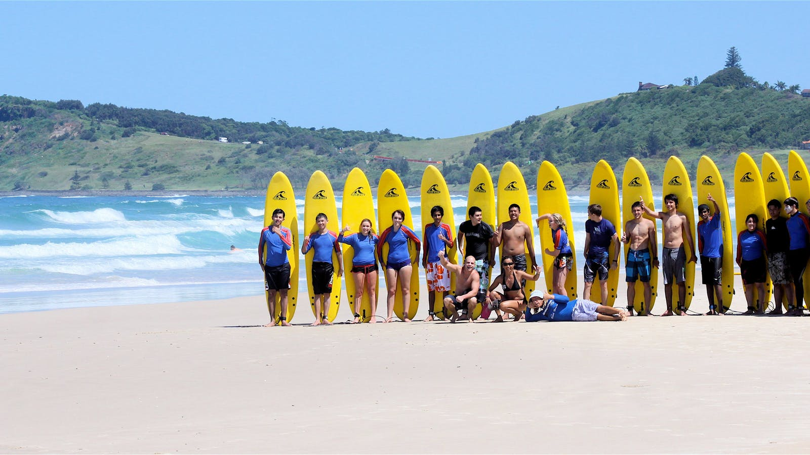 Surfing first lesson easy fun and safe  Equipment supplied  Head Coach World Champion Cheyne Horan