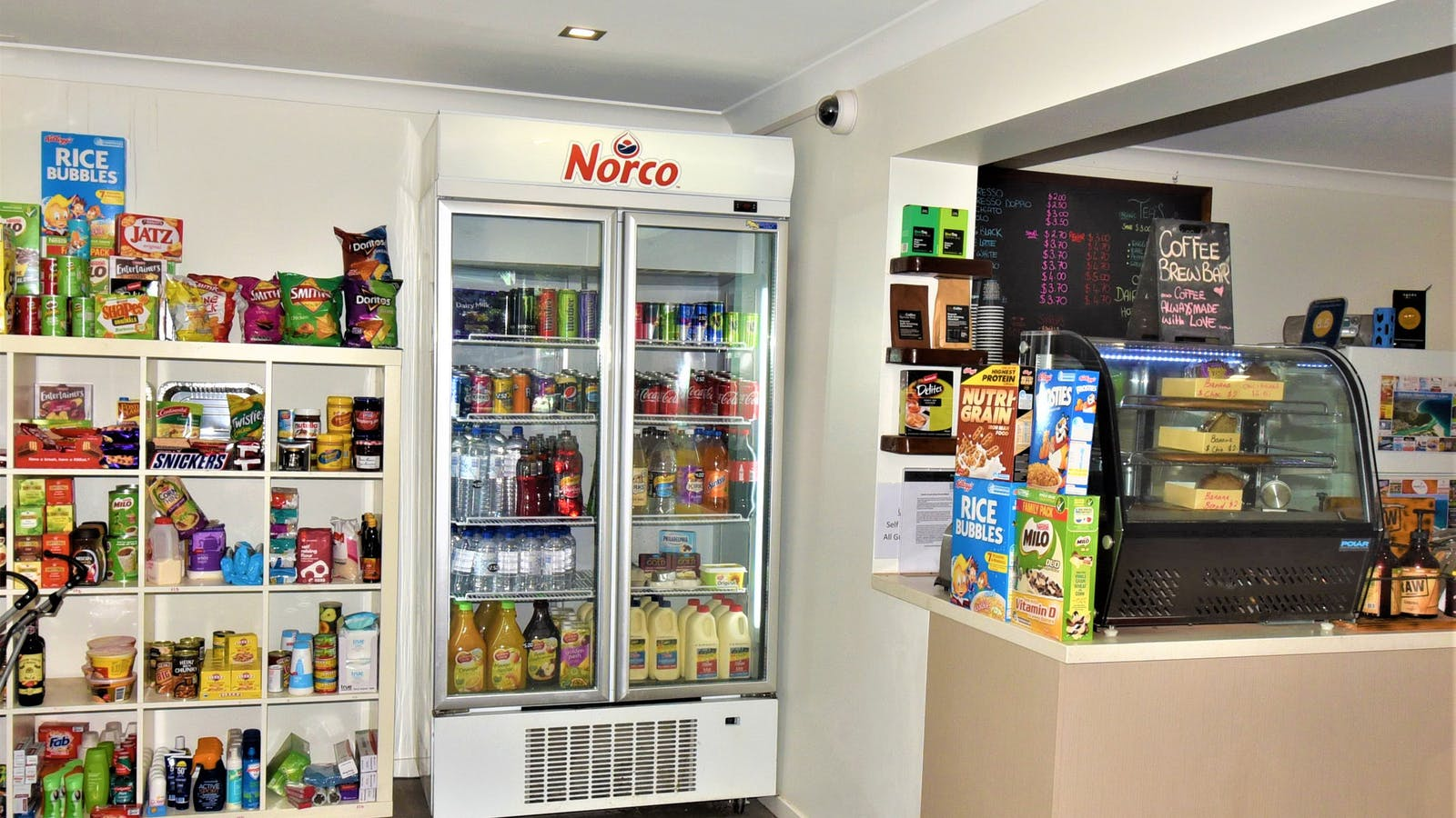 Groceries & coffee available from reception