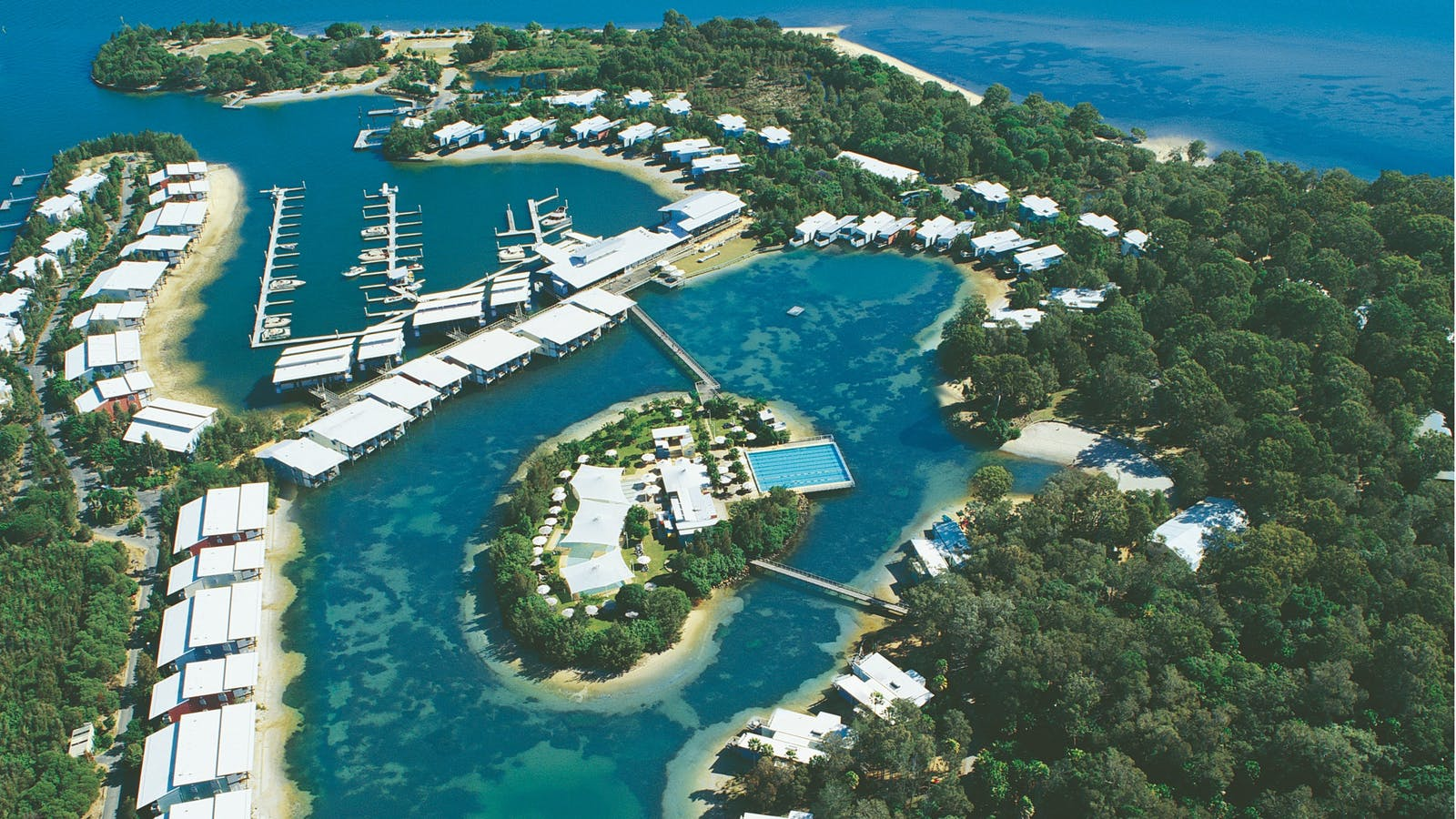 Aerial photo of Couran Cove Resort on South Stradbroke Island
