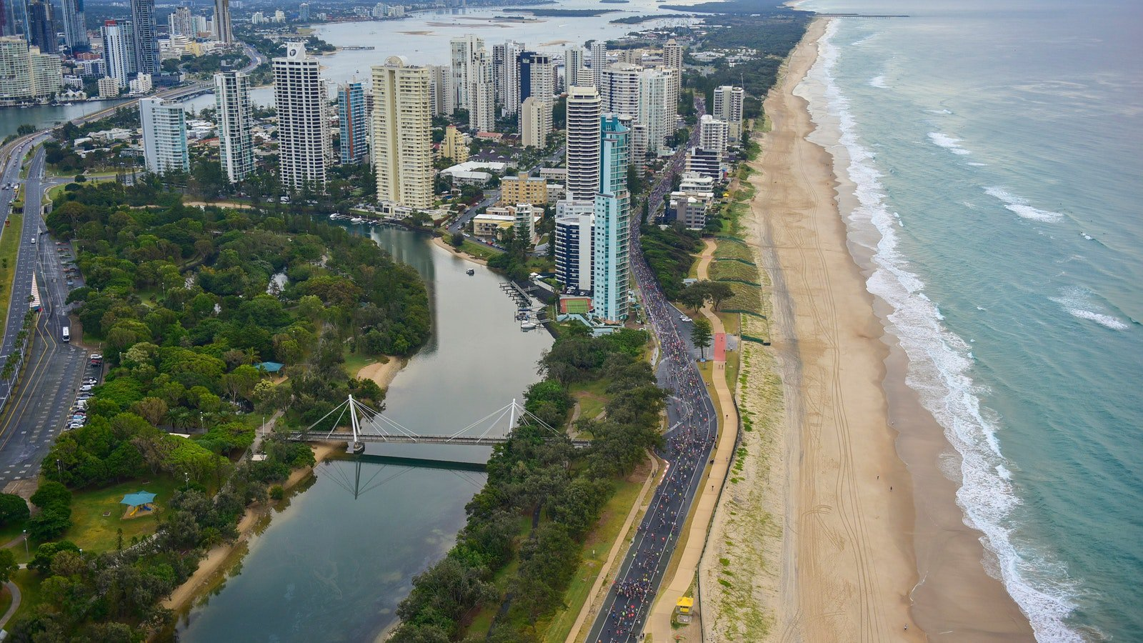 Gold Coast Marathon from the sky