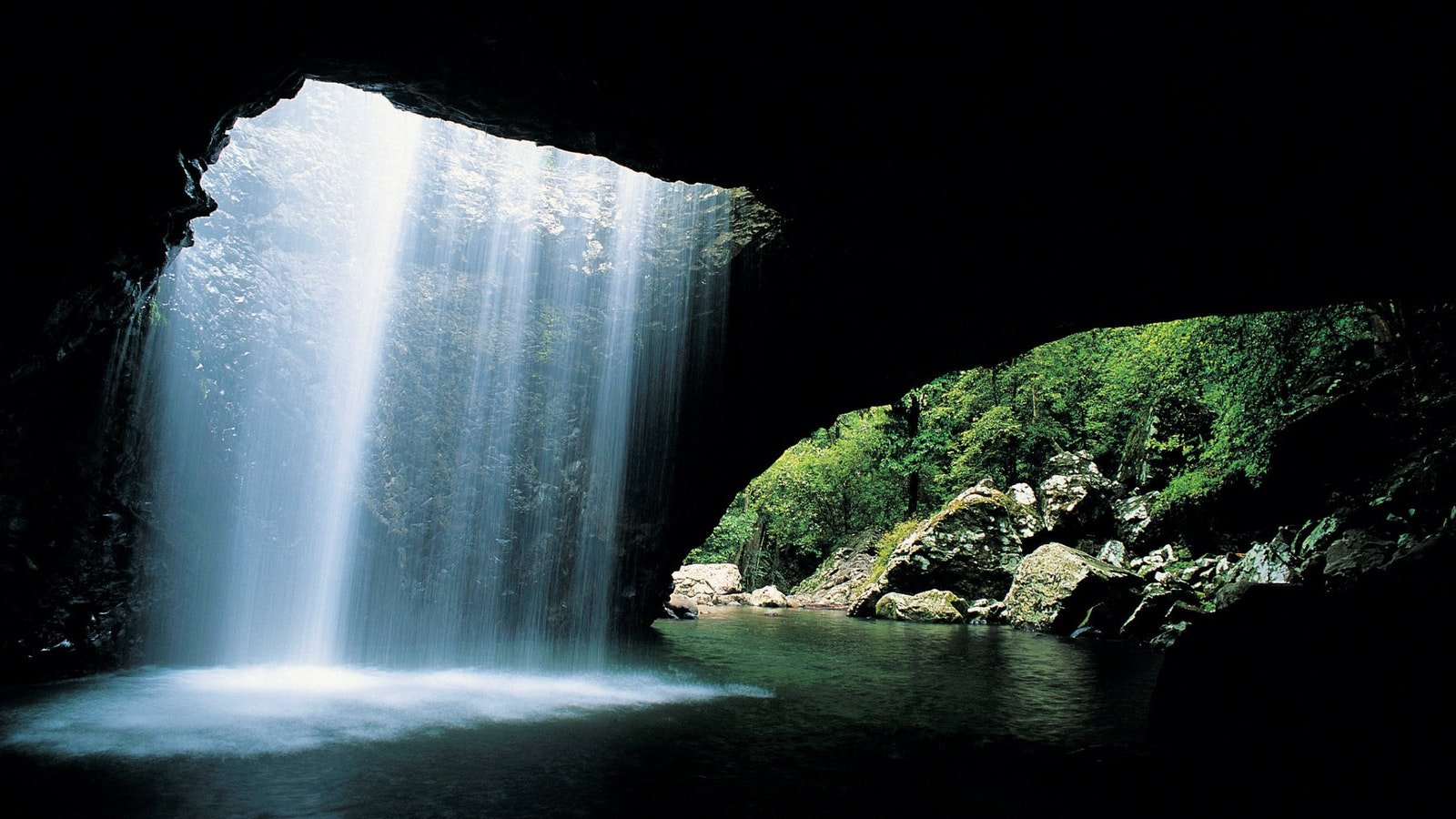 water cascading over cave at Natural Bridge, Springbrook National Park