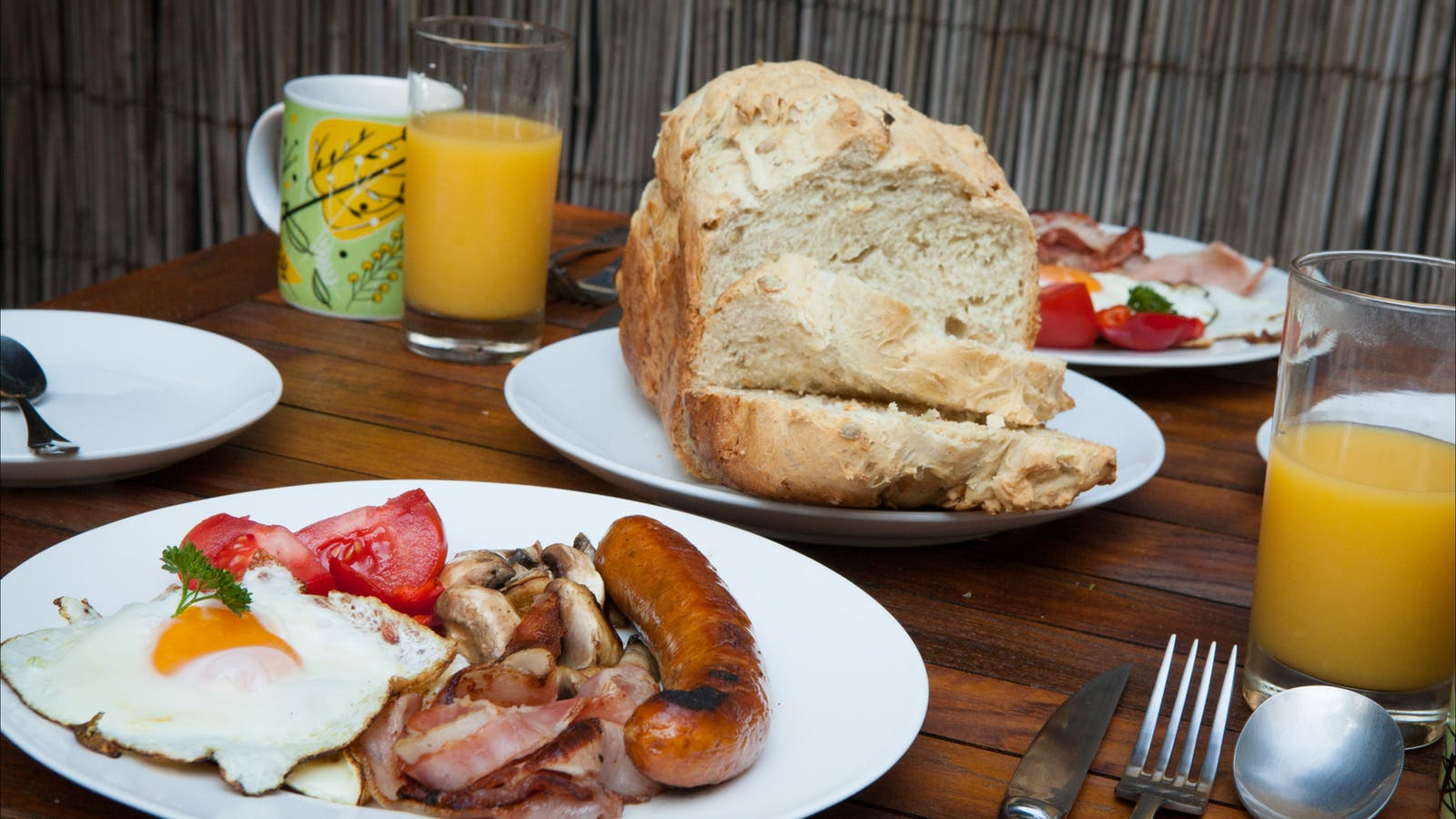 BBQ Breakfast with homemade bread