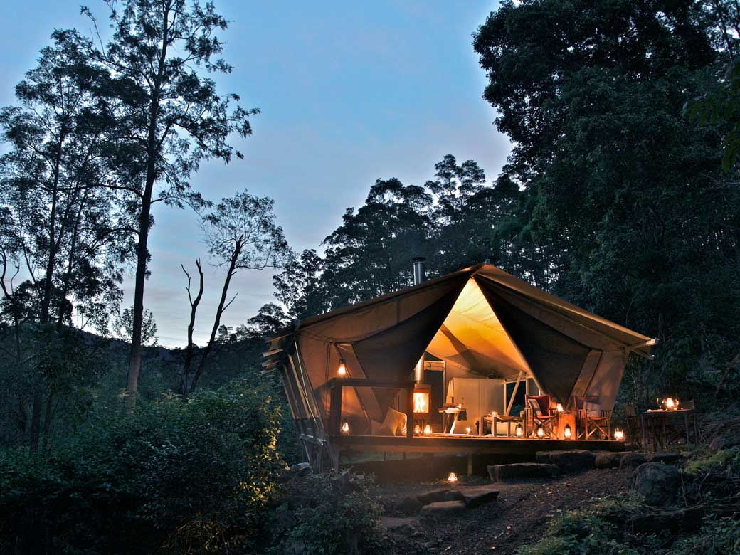 Nightfall Wilderness Camp Glamping tent surrounded by trees