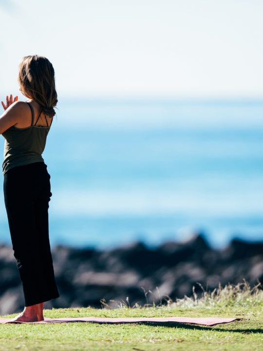 Burleigh Heads Hill woman in yoga pose